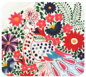 Mexican embroidery peacock design.