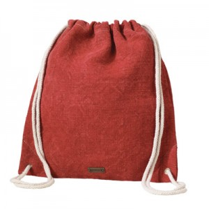 Bag made from natural fibers with rope straps.