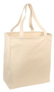 100% cotton tote with extra long handles