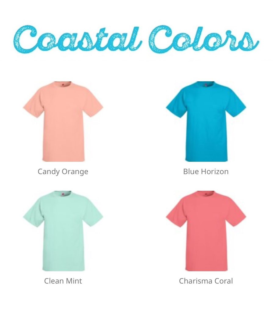 Hanes tshirts in coastal colors